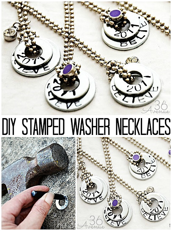 How to stamped and make washer necklaces. Tutorial at the36thavenue.com
