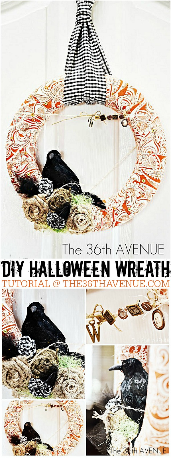 Halloween- DIY Halloween Wreath Tutorial at the36thavenue.com