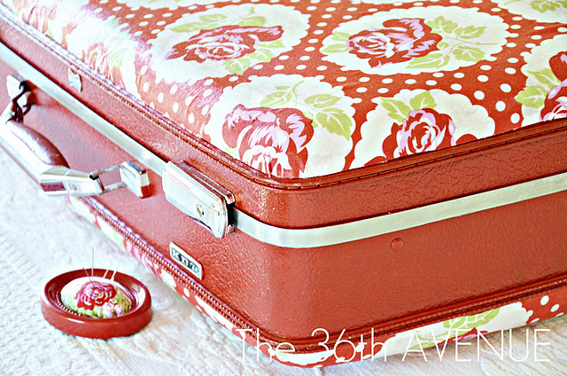 Mod Podged Fabric Suitcase!