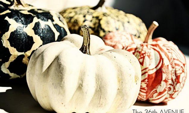 Mod Podge Fabric Dollar Store Pumpkins