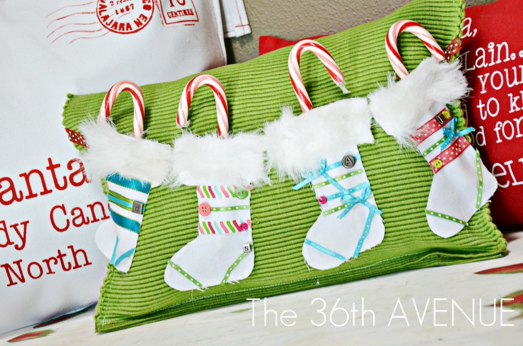 12 Days of Christmas Pillow tutorial on { lilluna.com } So cute and kids will love the yummy treats inside.