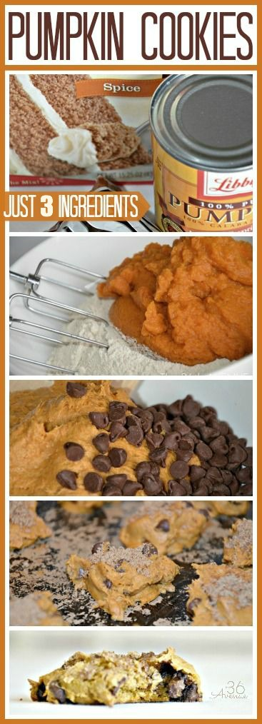 These are the easiest and yummiest pumpkin cookies. Just three ingredients to perfection... Pin it now and bake them later! the36thavenue.com
