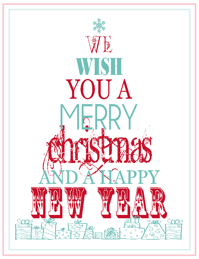 graphic about Merry Christmas Printable named Free of charge Printable: Merry Xmas Joyful Fresh new Yr. - The 36th