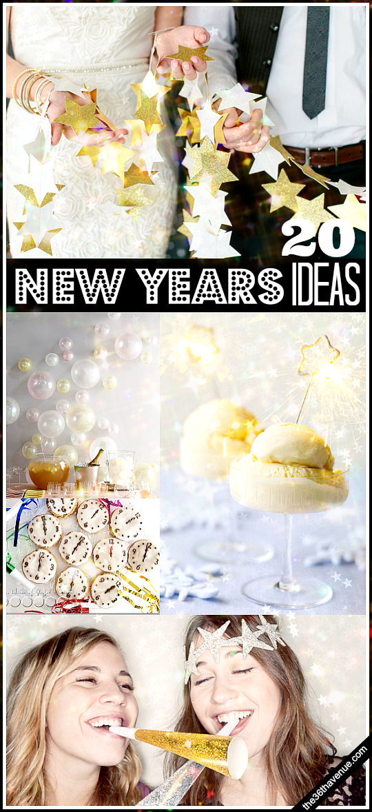 20 DIY New Years Ideas to help you celebrate! These are super fun! the36thavenue.com #newyears #sparkle #glitter