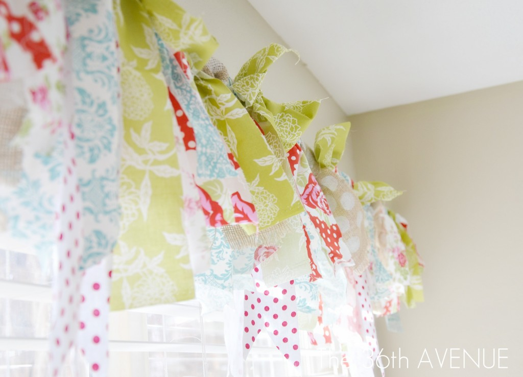 No sew fabric scrap window treatment... Such an easy way to bring color into a room. #diy #home