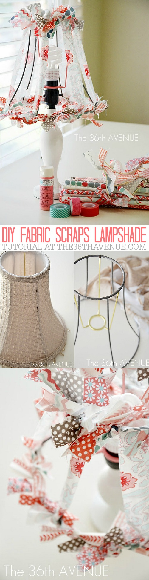DIY FABRIC SCRAPS LAMPSHADE at the36thavenue.com