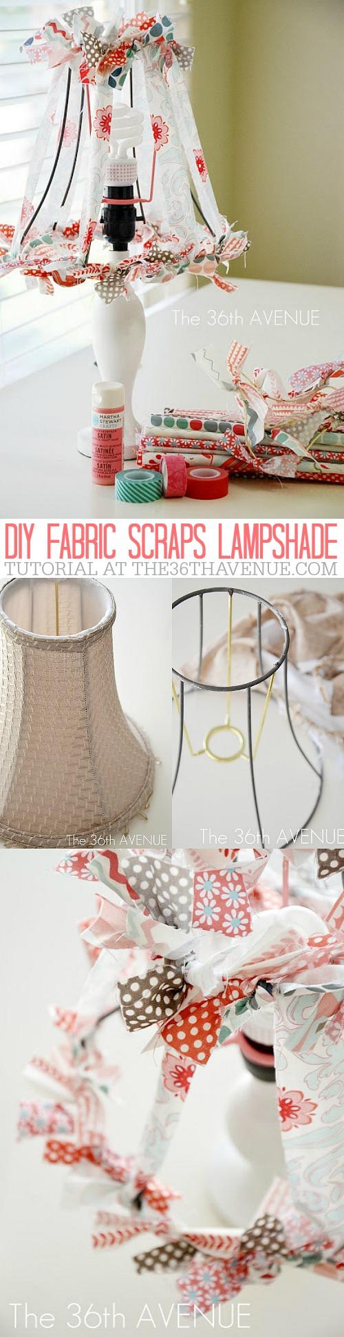DIY FABRIC SCRAPS LAMPSHADE at the36thavenue.com