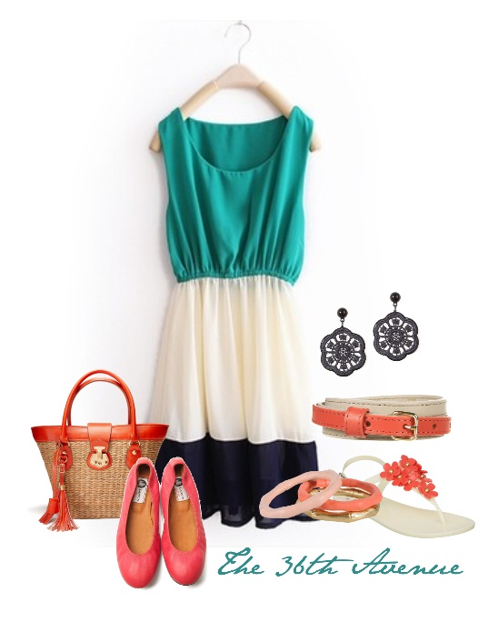 Navy Teal and Coral Fashion