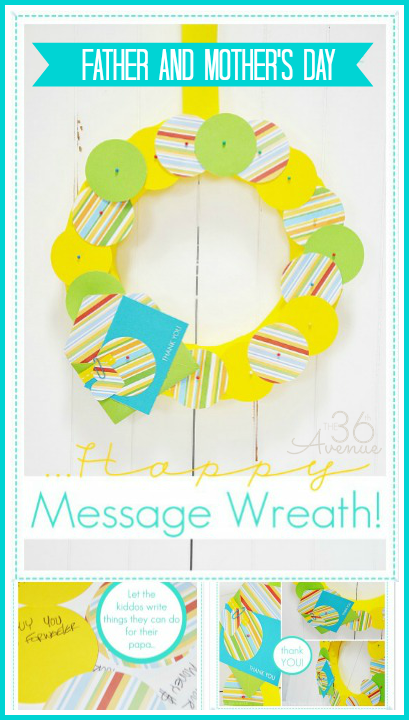 Make a cute message wreath with sweet thoughts and sercive acts. Such a cute idea for Father's Day! Tutorial at the36thavenue.com