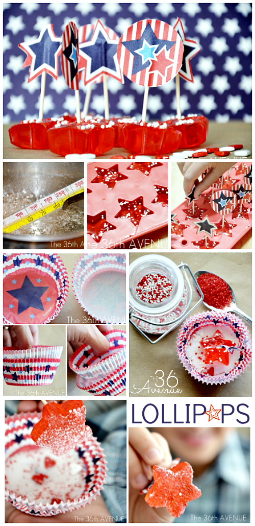 Patriotic Lollipop Recipe from the36thavenue.com... Pin it now and make them later.