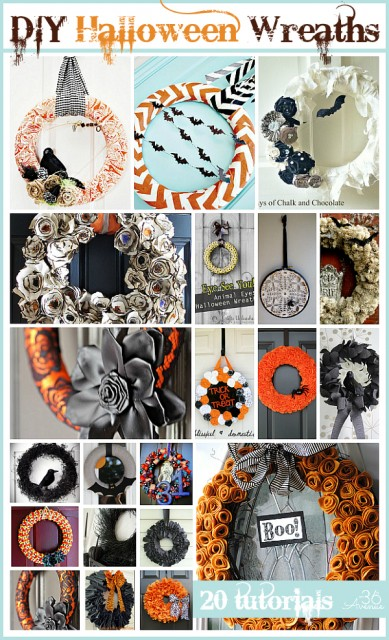 20 Halloween Wreath Tutorials at the36thavenue.com