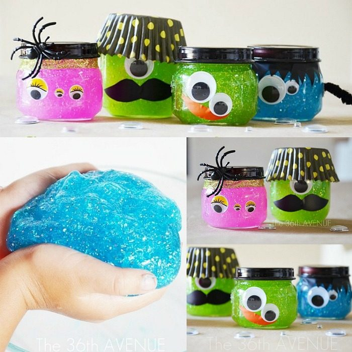 Halloween Craft - Awesome Halloween Craft for kids. These Halloween Monsters and Glitter Slime Recipe is always a Halloween Party favorite!