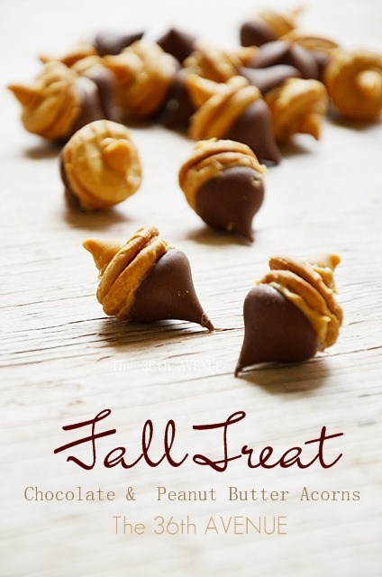 Fall Recipes - Chocolate Peanut Butter Acorns. The perfect Fall treat.
