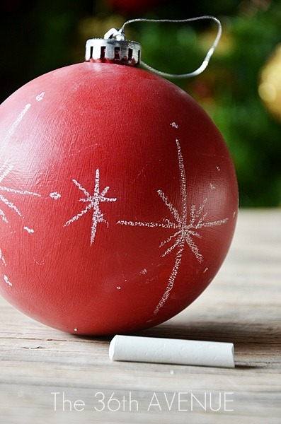 Handmade Ornaments - See how you can transform any color surface into chalkboard. Such a fun and easy way to give your old ornaments a new look.