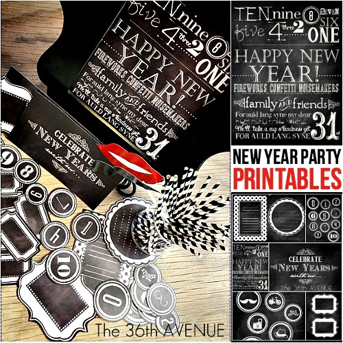 New Years Chalkboard Free Printables