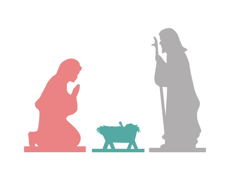 image about Free Printable Silhouette of Nativity Scene identify Nativity Absolutely free Printable - The 36th Street