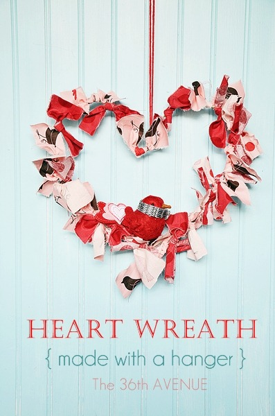 Heart Wreath Tutorial by the36thavenue.com It is made with a hanger and fabric scraps!