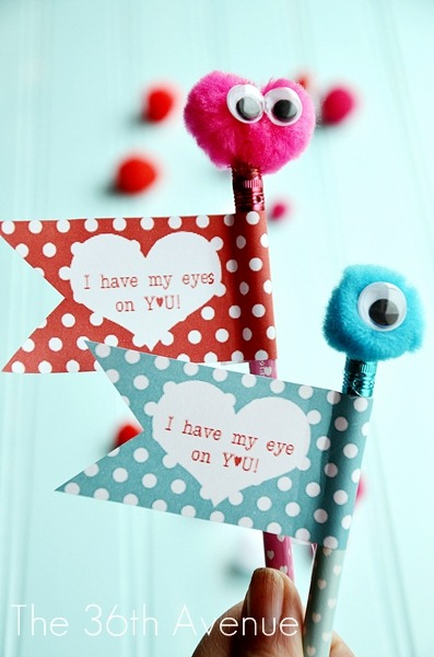 picture about Pencil Valentine Printable called Valentine Monster Pencils and Free of charge Printable - The 36th Road