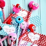 Valentine Monster Pencils and Free Printable