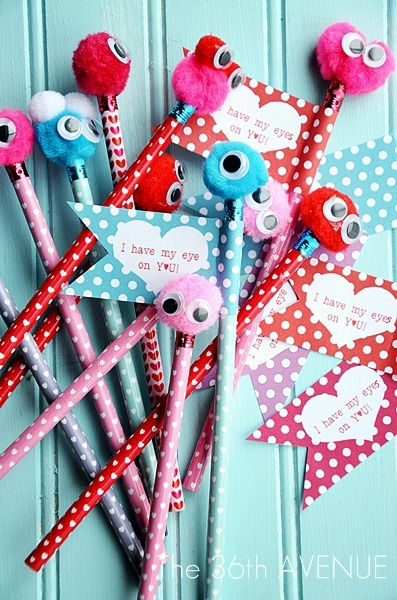 DIY Valentine Monster Pencils and Free Printable by the36thavenue.com