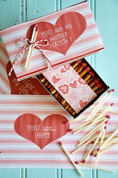 Valentine Box of Edible Matches Tutorial and Free Printable by the36thavenue.com