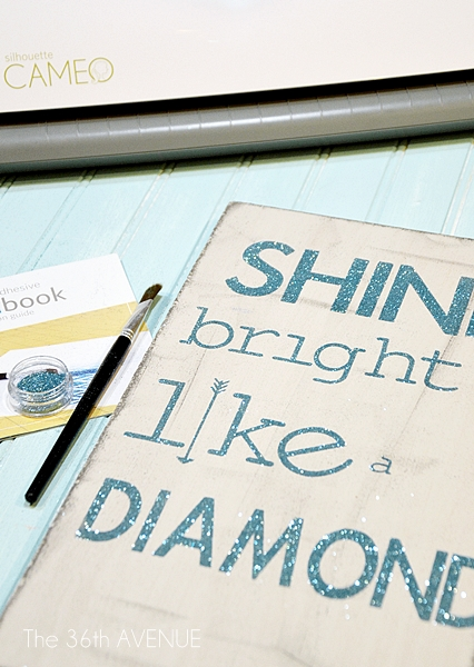 How to make a glittered sign with double sided adhesive tutorial by the36thavenue.com