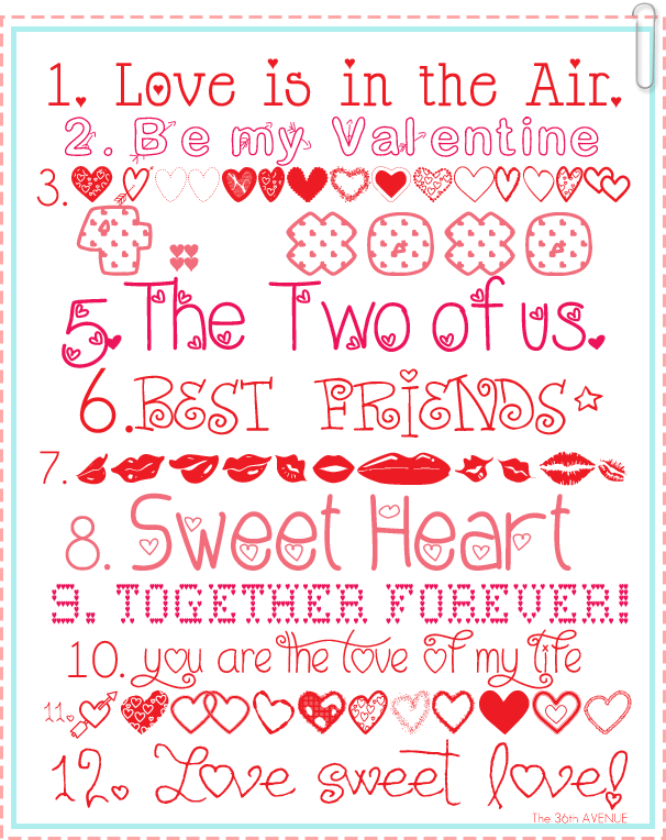 12 Free Valentine Fonts and links to download them over at the36thavenue.com