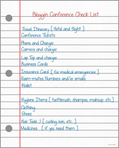 BLogging Conference Check List Printable
