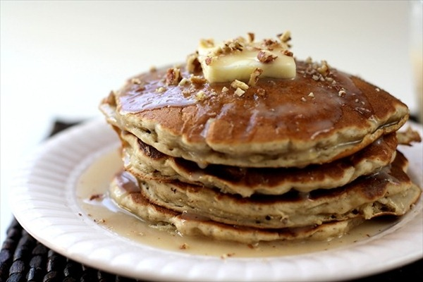Banana Pecan Pancakes_ButterwithaSideofBread