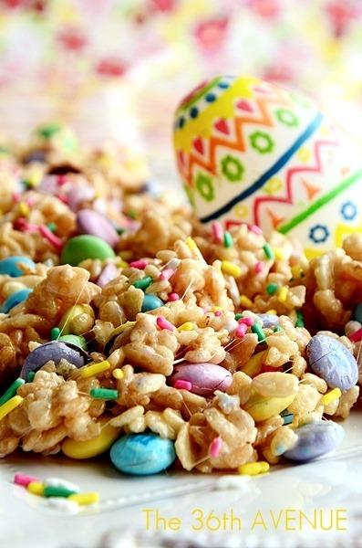 Bunnies' Food: Festive Rice Crispy Treats #Recipe #Easter the36thavenue.com