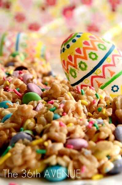 Bunnies' Food: Festive Rice Crispy Treats #Recipe #Easter the36thavenue.com