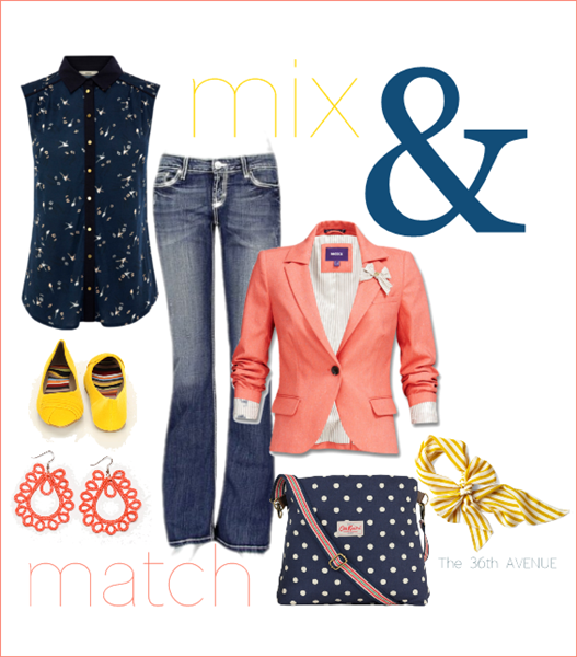 Coral, navy, yellow. Super cute for Spring! the36thavenue.com