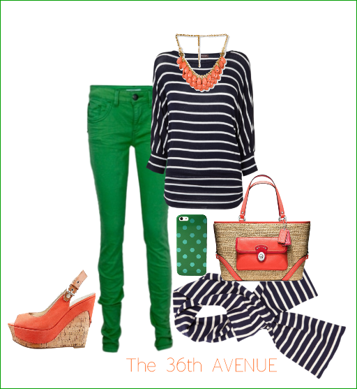 Green, navy and coral. the36thavenue.com