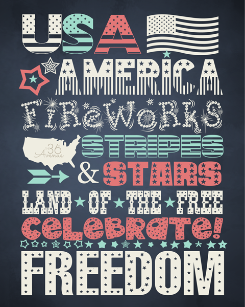 4th of July Free Printable at the36thavenue.com Celebrate!