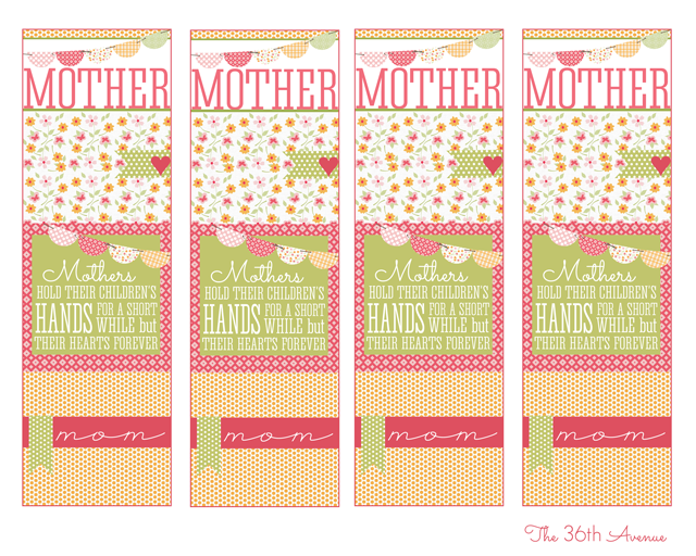 photo relating to Mother's Day Bookmarks Printable Free titled Homemade Items - Moms Working day Bookmark - The 36th Road