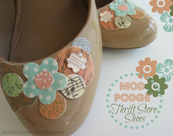 http://alittleclaireification.com/2013/05/09/mod-podge-shoes-thrift-store-finds/