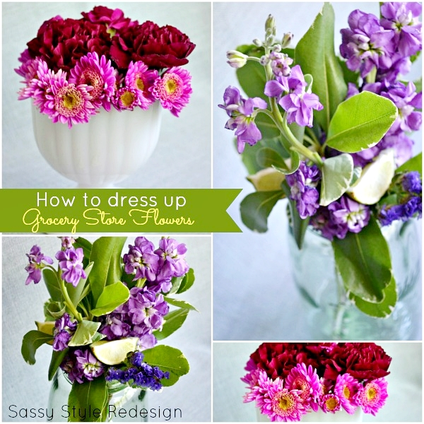 Tips of how to dress up grocery store flowers and make centerpieces by sassystyleredesign.com
