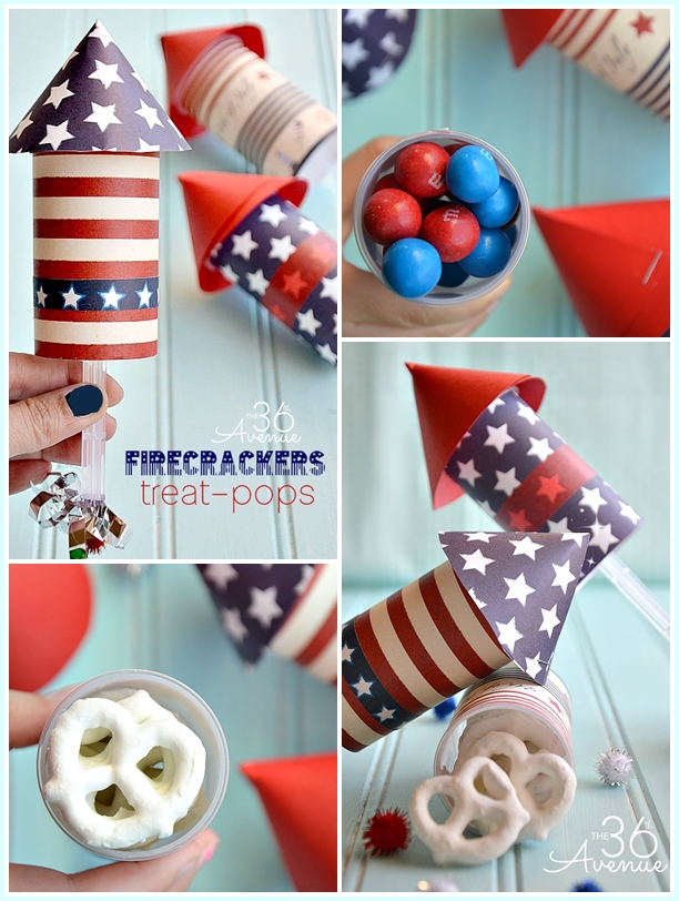 4th of July Firecracker Treat Pop TUTORIAL at the36thavenue.com