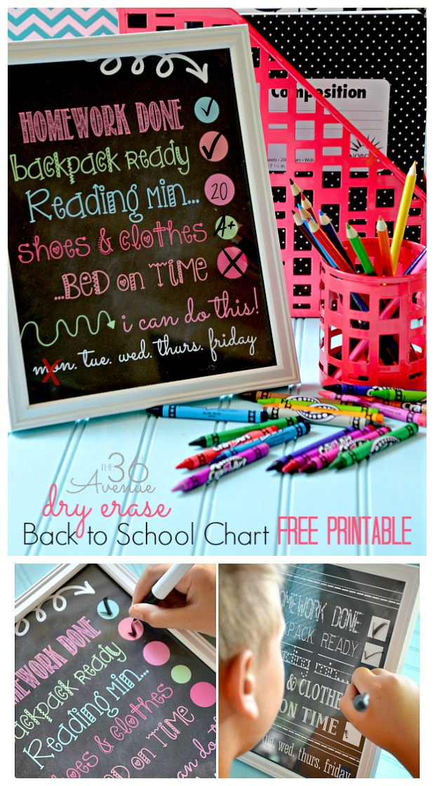 Back to School : Dry Erase Chore Charts. Get the free printable at the36thavenue.com