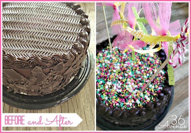 Costco Chocolate cake Makeover... How to spruce up a store bought cake at the36thavenue.com