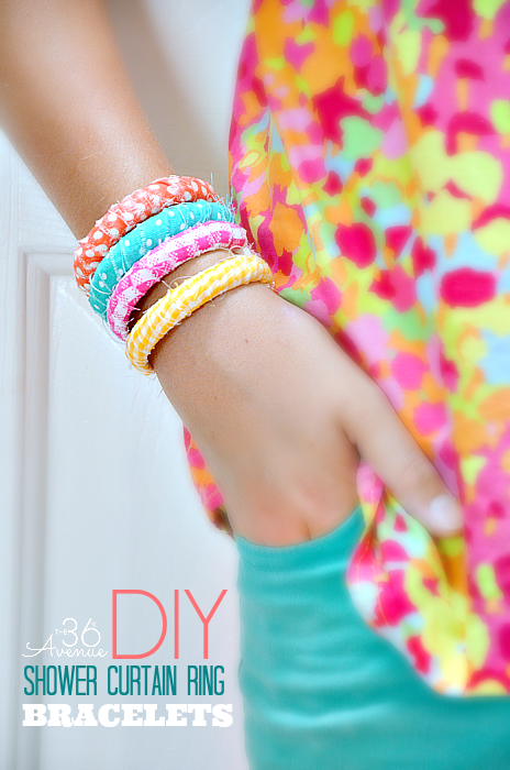 DIY { shower curtain ring} Fabric Bracelets. These are super affordable and easy to make! #crafts