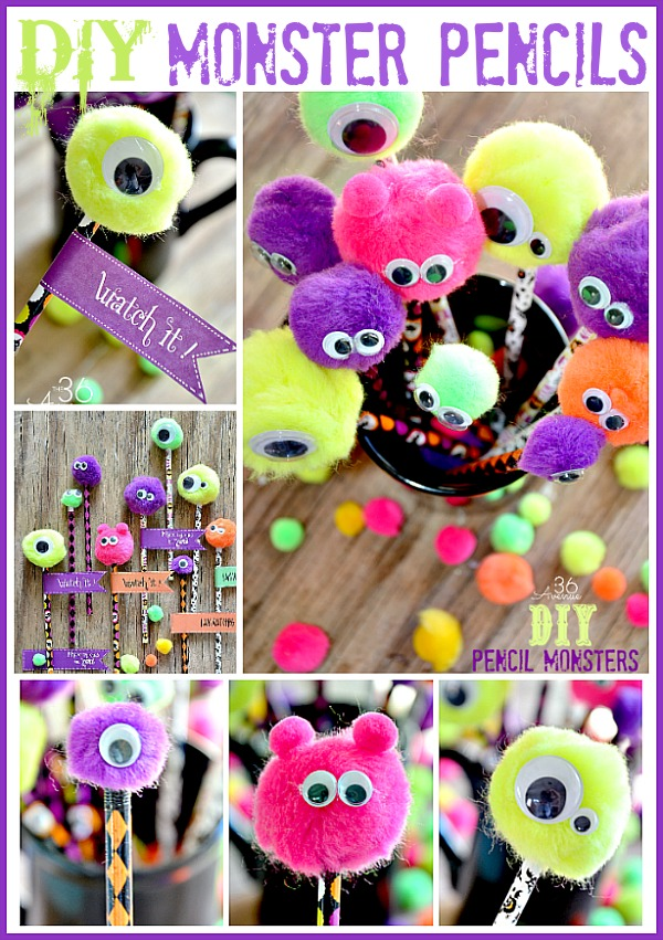 photograph about Halloween Craft Printable referred to as Halloween Craft ~ Do it yourself Monster Pencils - The 36th Road