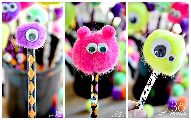 Halloween Adorable Monster Pencils at the36thavenue.com