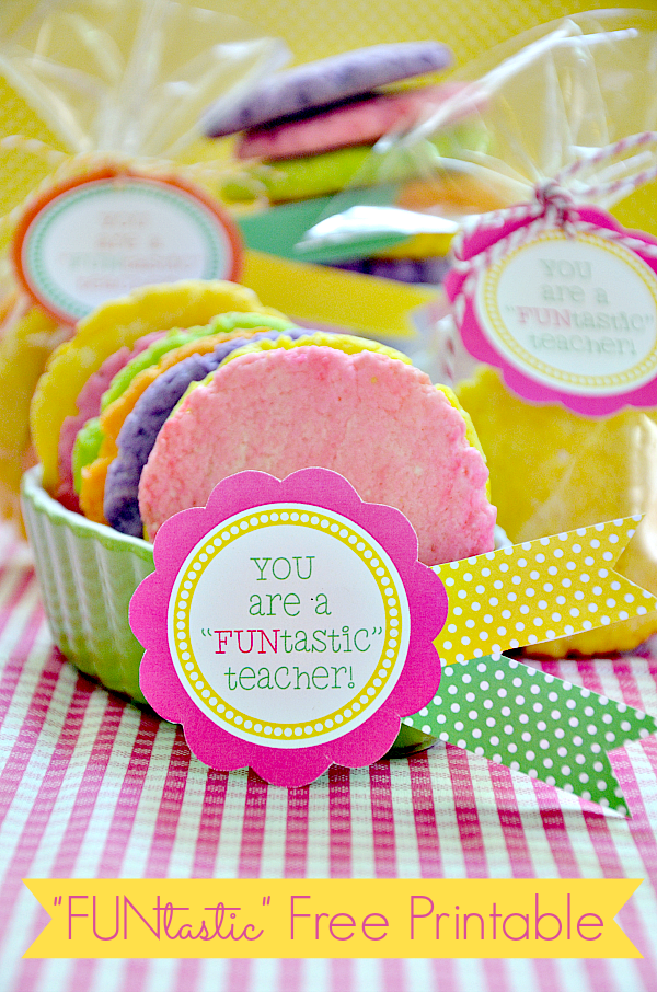 Teacher's Gift Idea - Colorful three ingredient cookies and printables.