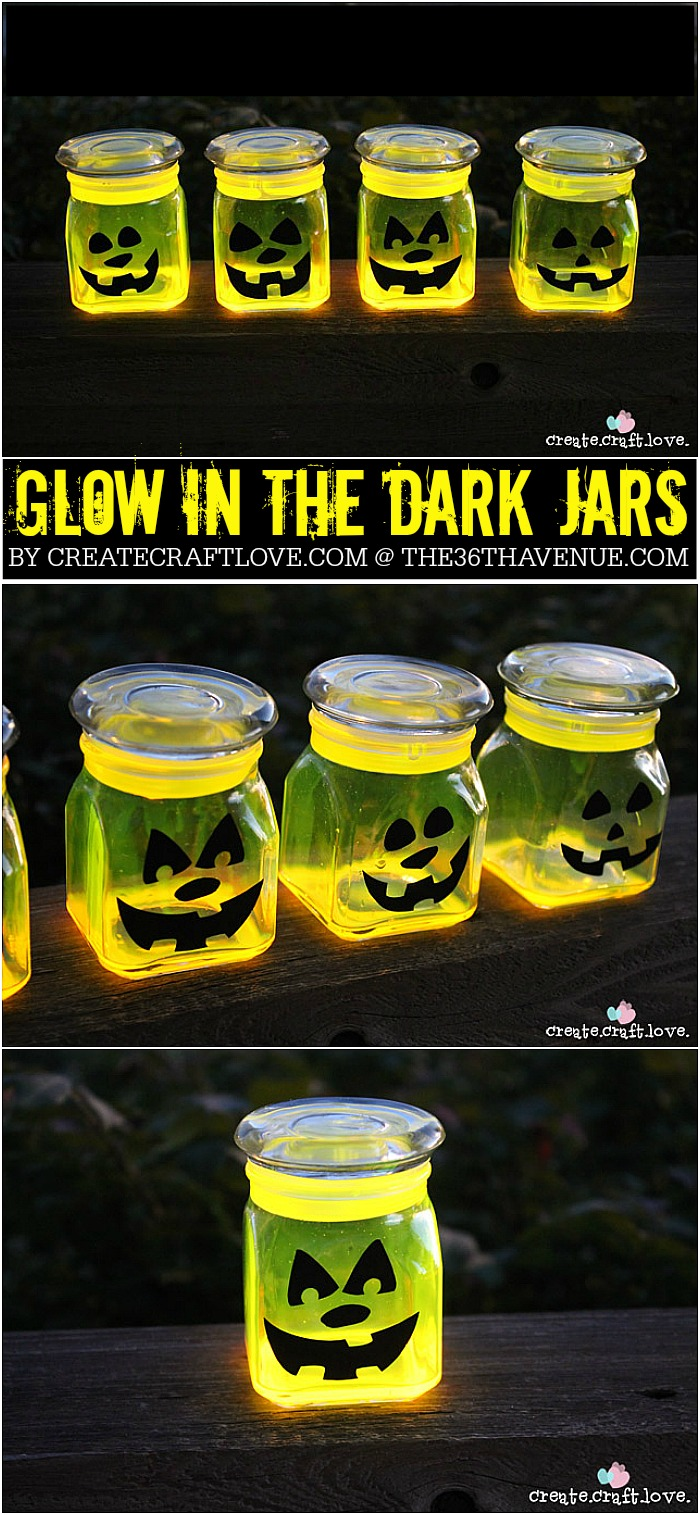 Halloween - These Glow Stick Pumpkin Jars will be the talk of the neighborhood on Halloween night! via createcraftlove.com for the36thavenue.com