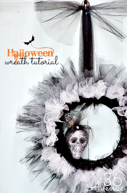 Halloween DIY Wreath Tutorial at the36thavenue.com