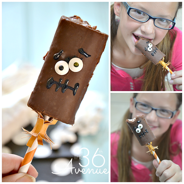 Halloween Treat Monsters at the36thavenue.com These take 1 MINUTE to make! Pin it now and make them later... Eek!