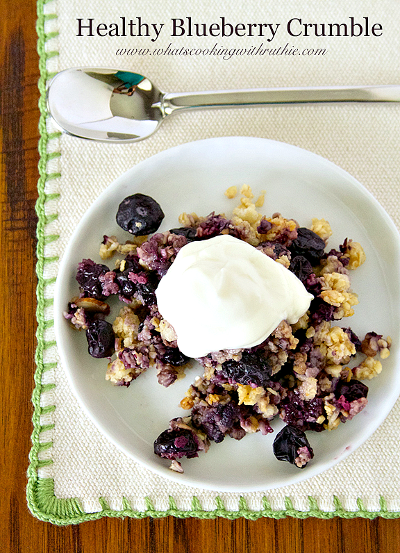 Recipe: Delicious Healthy Blueberry Crumble by www.whatscookingwithruthie.com