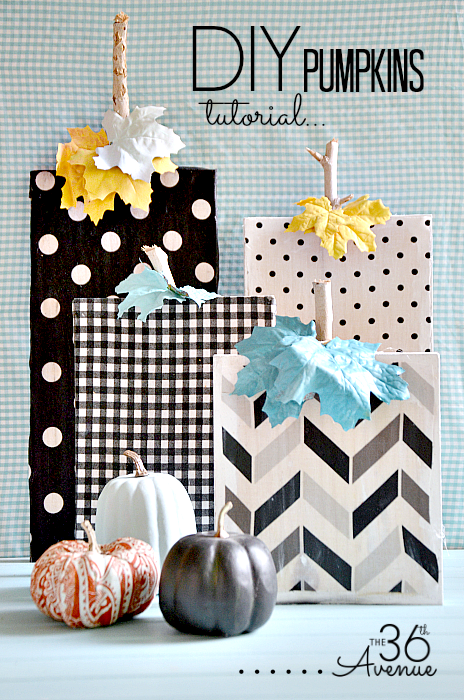 Super cute wood and fabric DIY Pumpkins Tutorial at the36thavenue.com. Love it!