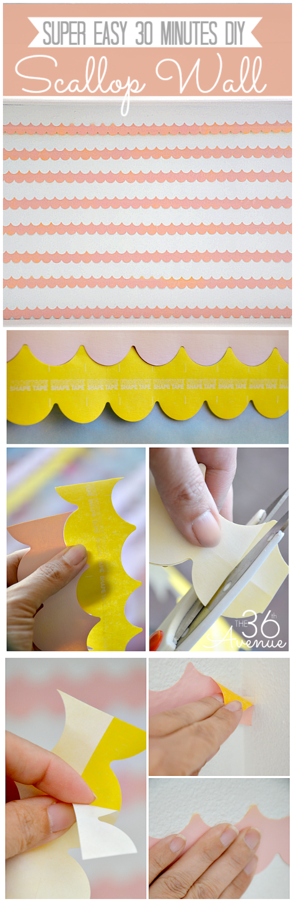 30 minutes DIY Scallop Wall... Tutorial #Frogtape #shapetape